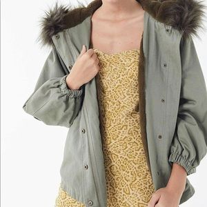Urban Outfitters Green Hooded Parka Coat